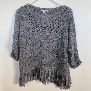 Alberto Makali Crochet Knit Poncho Top M grey